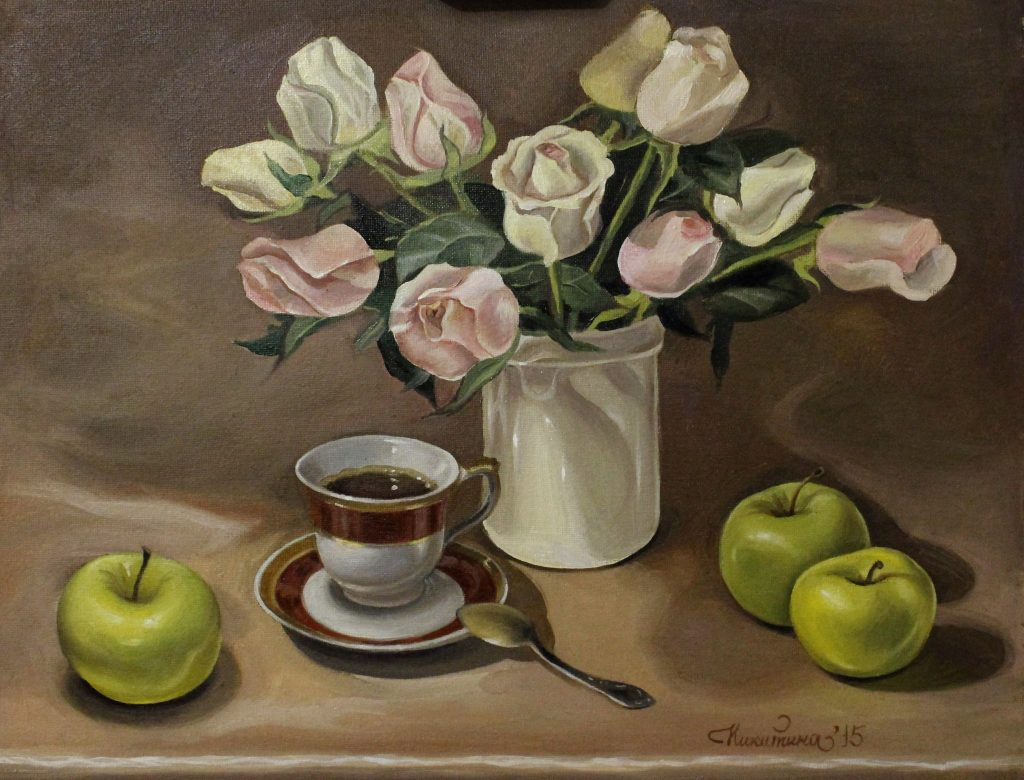 Никитина Мария Натюрморт с чашечкой чая 2015г. Холст, масло 40х50см