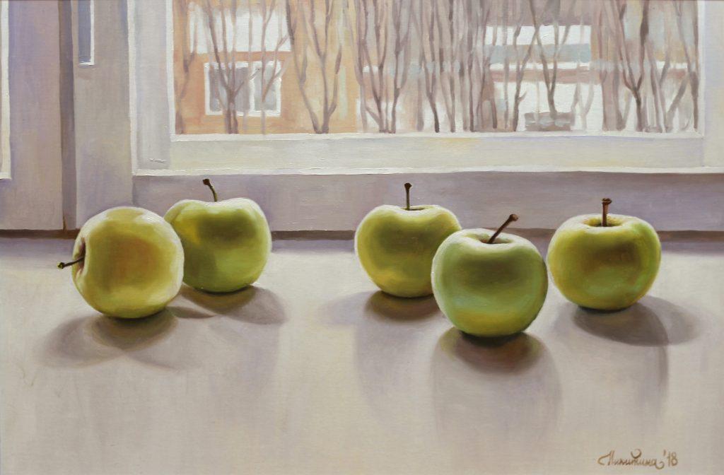 Яблоки на зимнем окне. 40х60см. Холст, масло.