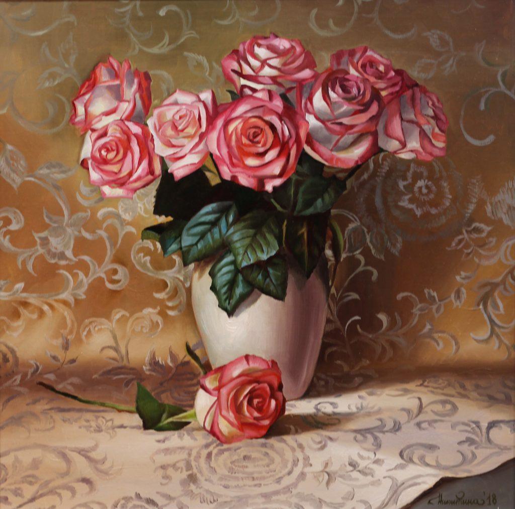 Никитина Мария, Букет роз, 2019г.холст, масло 60х60см